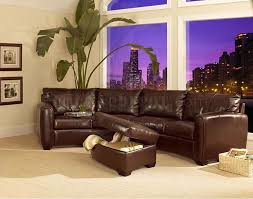 Circular Sectional Sofas Curved Sectional Sofa U0026 Ottoman Set In Dark Brown Bycast Leather