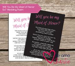 asking of honor poem will you be my of honor poem wedding printable
