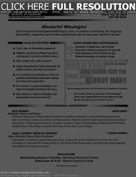 Bartending Resume Example by 85 Bartending Resume Template Cover Letter For Cv Template