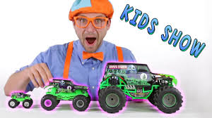 toy monster truck videos monster truck toys for kids learn shapes of the trucks while