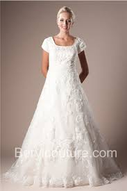 a line square neckline lace applique modest wedding dress with sleeves