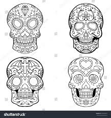 Day Of The Dead White Set Sugar Skulls Isolated On White Stock Vector 679266559