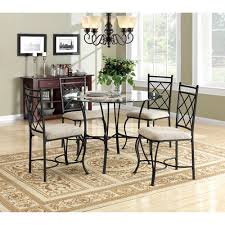 Glass Top Dining Room Table Mainstays 5 Glass Top Metal Dining Set Walmart