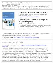 lean hospitals a new challenge for facility designers pdf