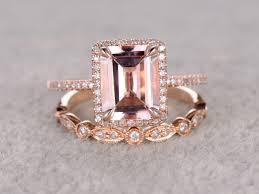 ring set 2 5 to 3 carat emerald cut morganite engagement ring set diamond