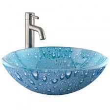 blue water droplet glass vessel sink bathroom