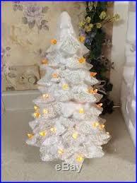 white ceramic christmas tree 16 gold glitter flakes orange yellow