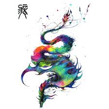 harajuku colorful chinese flying dragon tattoo designs cool