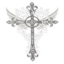 roman cross add a purple stone in the middle tattoos
