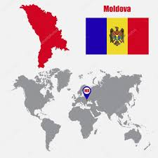 Moldova Flag Moldova Map On A World Map With Flag And Map Pointer Vector
