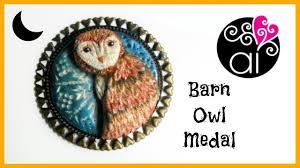 halloween medals barn owl medal diy polymer clay tutorial applique medaglione