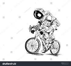 astronaut futuristic bicycle race fire rocket stock vector