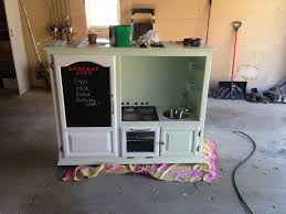 kitchen playset from an old entertainment center my wife and i