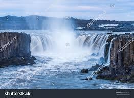 Selfoss Visit South Iceland Selfoss Waterfall Beauty World Wonderful Landscape Stock Photo