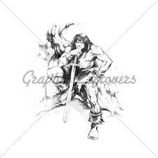 tattoo art sketch of a fantasy warrior gl stock images