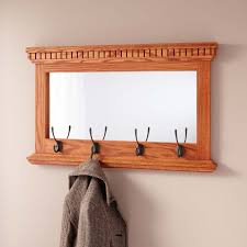 mirrored solid oak coat rack with classic double hooks hardware