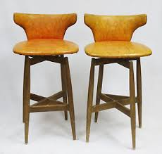 Wooden Swivel Bar Stool Pair Of 1960s Mid Century S J Wiener Kodawood Modern Bent Wood
