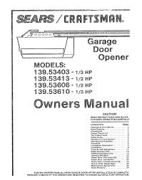 craftsman garage door opener 139 5361 pdf owner u0027s manual free