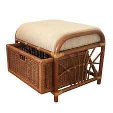 Basket Ottoman by Ottoman Storage Jerry 1box Color Light Brown With Cushion Rattan