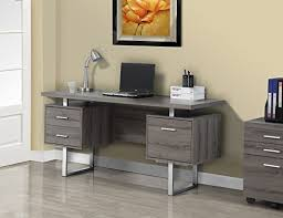 Metal Office Desk Specialties Taupe Reclaimed Look Silver Metal Office Desk 60