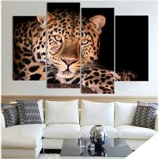 leopard home decor aliexpress com buy 4 panel canvas art canvas painting leopard