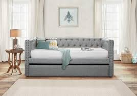 bedroom full size daybed with white ceramic floor and small