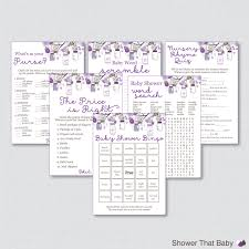 mason jar baby shower games printable package with purple