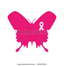 butterfly ribbon pink breast cancer stock vector 610501583