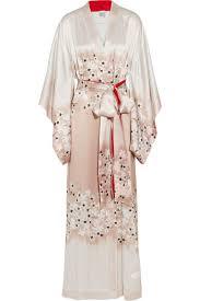 robe de chambre soie peignoir kimono en satin de soie à imprimé fleuri 630