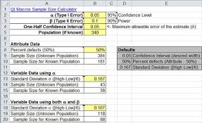 percentage calculator excel sample size calculator excel template