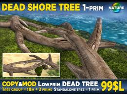 Second Nature Landscaping by Second Life Marketplace Dead Beach Tree 1 Prim Copy Mod Mesh
