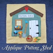 garden themed applique wool felt potting shed sewfelt