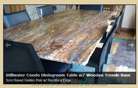 3cm honed golden noir granite diningroom table w rockface edge