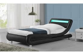 Curved Bed Frame Madrid Led Lights Modern Designer Bed Black Faux Leather Single