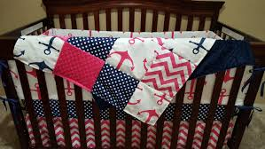 Pink Chevron Crib Bedding Nautical Baby Crib Bedding Pink Anchors Navy Dot Pink