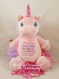 personalize baby gifts birth announcement unicorn personalized baby stuffed animal shown