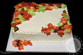 autumn sheet cakes sheet cake with white piping on the sides we