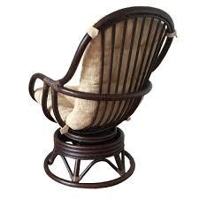 Rattan Swivel Rocker Cushions Swivel Rocking Chair Erick Color Dark Brown With Cushion Handmade