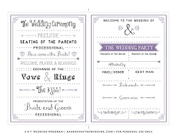 wedding bulletins exles invitations one page wedding program template program template