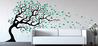 tree wall decal wind blowing flying leaves large tree decal