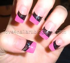 love4nailart pink u0026 black encapsulated colored acrylic nails