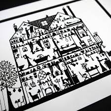 house cross section print by folk art papercuts by suzy taylor