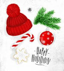 christmas symbols hat vector premium download