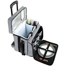 at ascot equipped picnic cooler with service for 4 on wheels