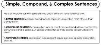 simple compound complex and compound complex sentences worksheet