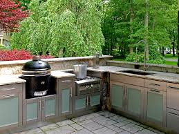 Astounding Modular Outdoor Kitchen Design With Exposed Brick Base - Outdoor kitchen sink cabinet