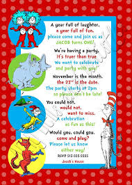 dr seuss birthday invitations custom personalized dr seuss inspired 1st 2nd or 3rd birthday