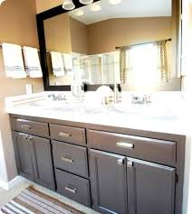 Refinish Vanity Cabinet How To Paint My Bathroom Cabinets U0026 Put A Frame Around The Mirror