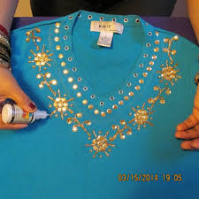 gorgeous shirt decoration with sequins beads and glitter paint