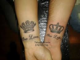 king and queen one life one love tattoo on arm crown pictures to